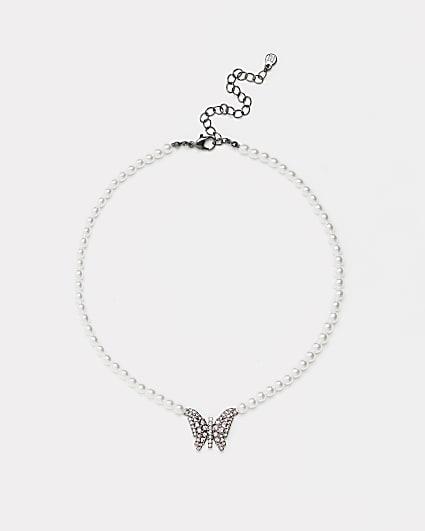 Silver butterfly pendant choker