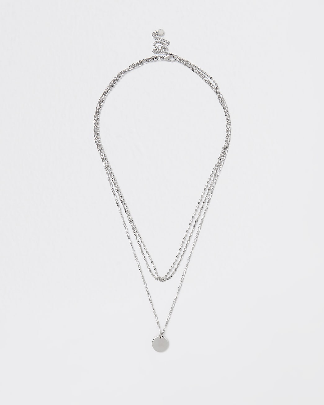 Silver chain and disc multirow necklace