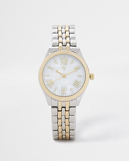 Silver chain link watch