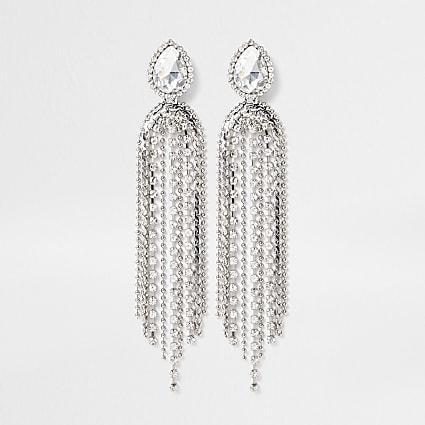 Silver chain tassel dangle earrings