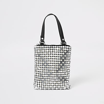 Silver chainmail diamante handbag