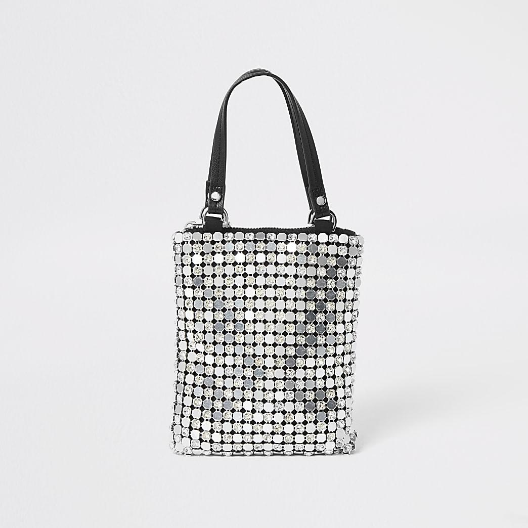 Silver chainmail diamante handbag