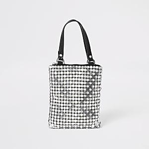 Silberne Handtasche im Kettendesign mit Strass