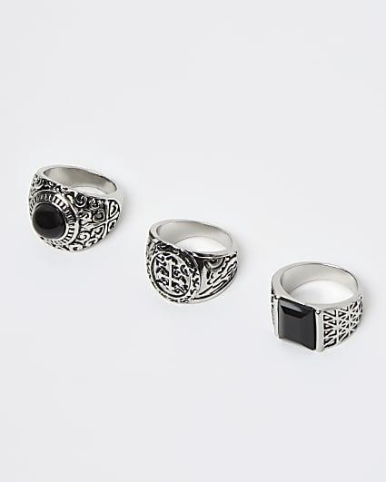 Silver chunky cross embossed multipack rings