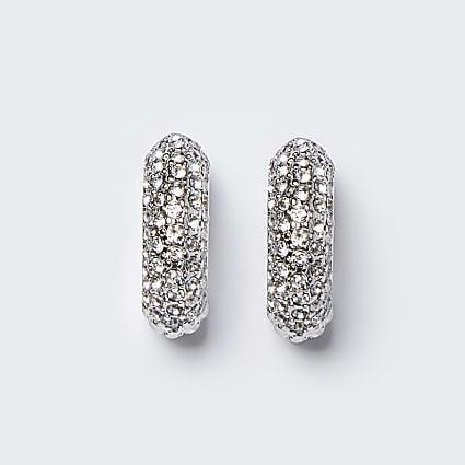 Silver chunky diamante hoop earrings