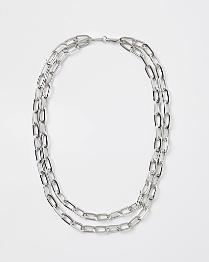 Silver chunky double chain necklace