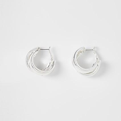 Silver chunky hoop earrings
