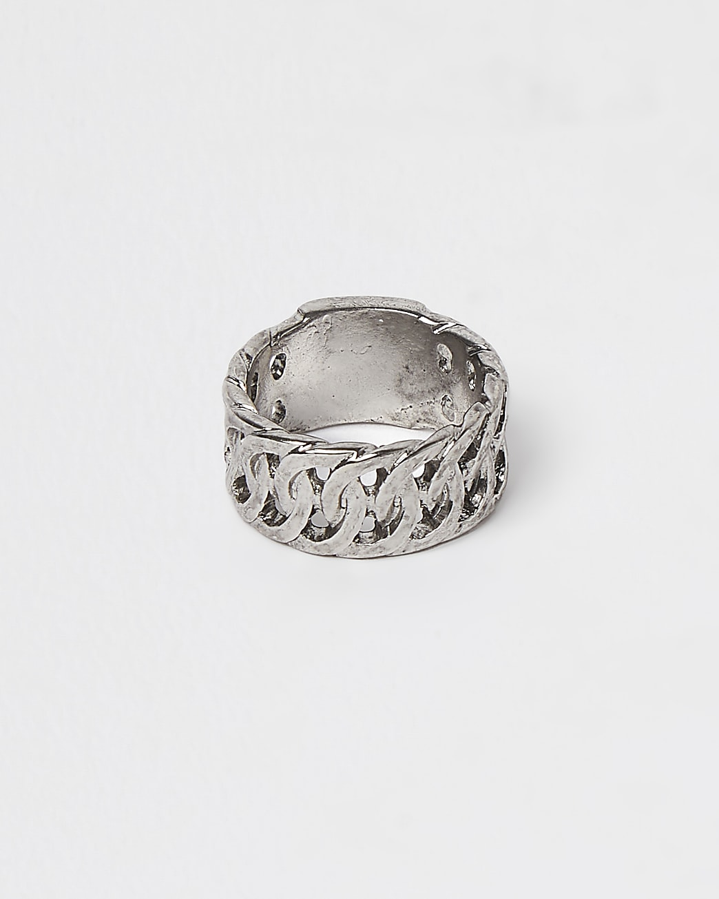 Silver chunky link ring