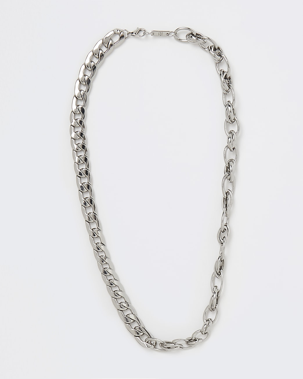 Silver chunky mixed chain necklace
