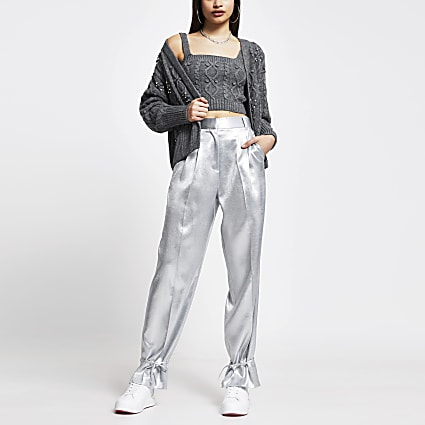 Silver cinched hem tie cuff trousers