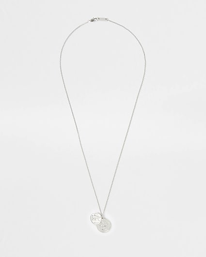 Silver coin cluster necklace