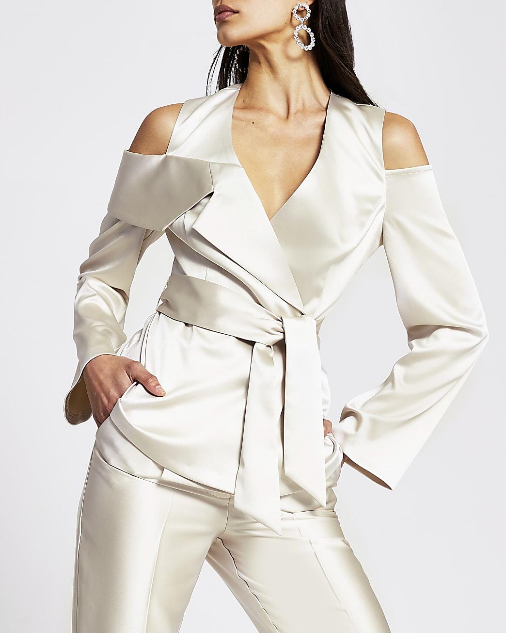 Silver cold shoulder diamante button blazer
