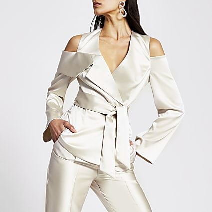 Silver cold shoulder diamante button blazer