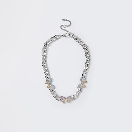 Silver color butterfly chunky collar necklace