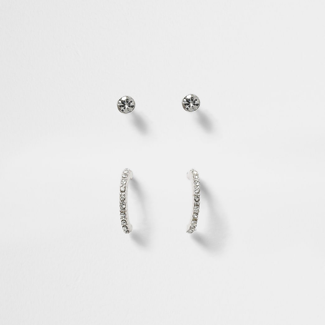 Silver colour 2 pack crystal stud earrings