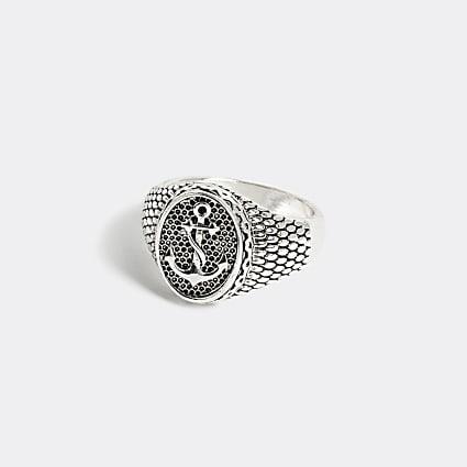Silver colour anchor engraved signet ring