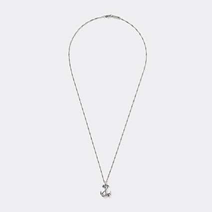 Silver colour anchor pendant necklace