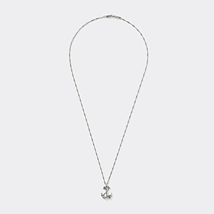 Silver colour anchor pendant necklace