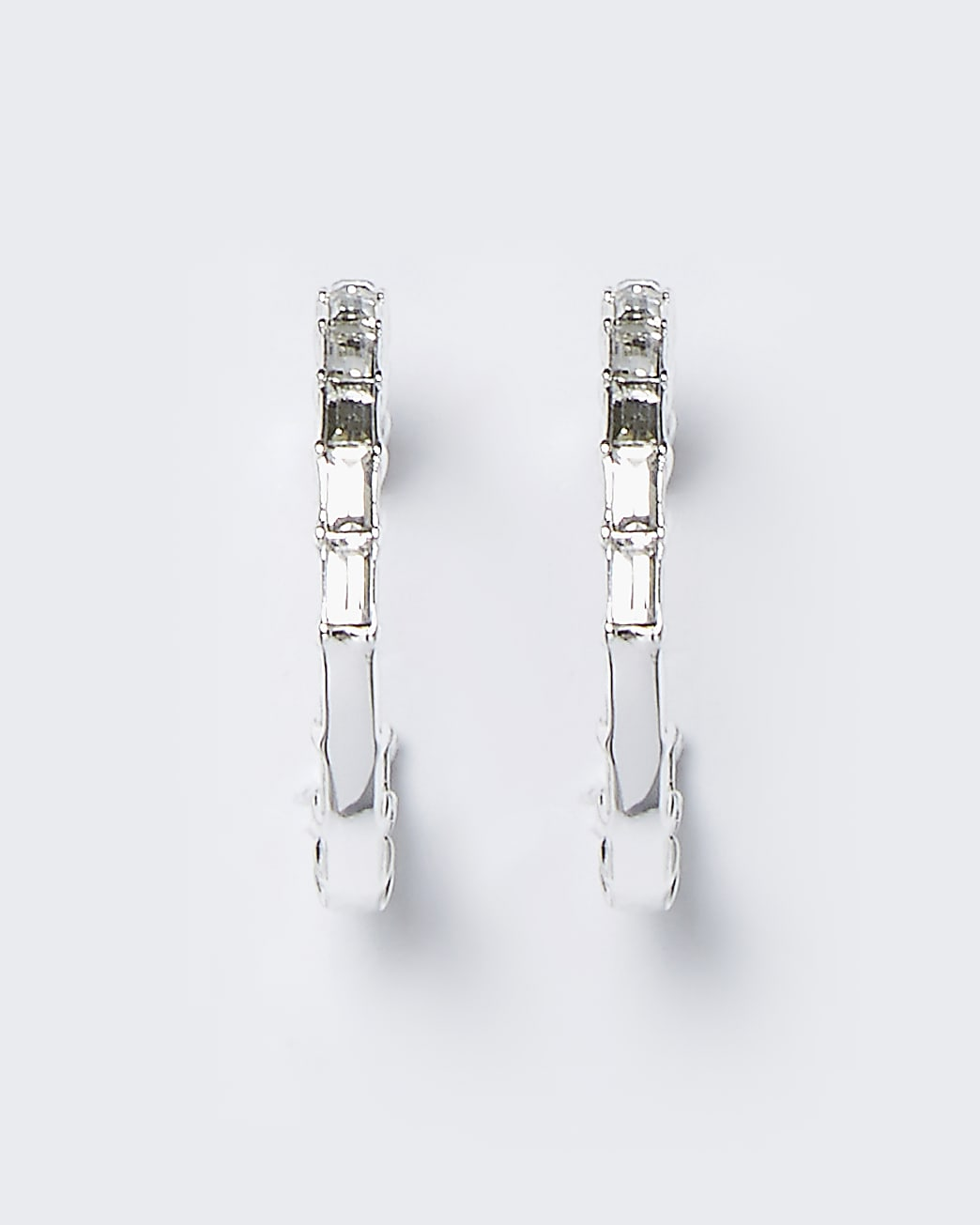 Silver colour baguette stone hoop earrings