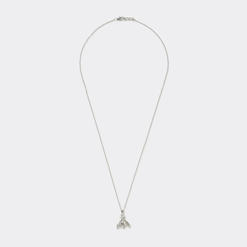 Silver colour bee pendant necklace