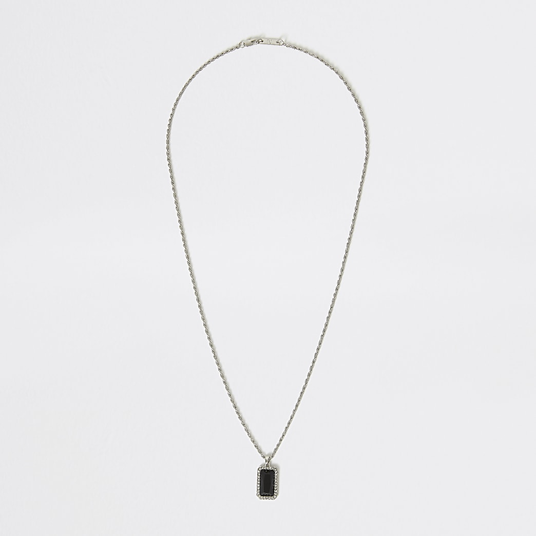 Silver colour black jewel pendant necklace