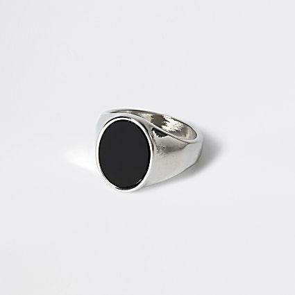 Silver colour black oval signet ring