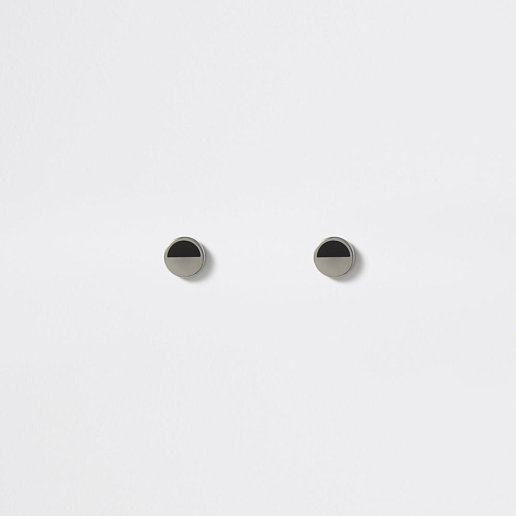 Zilverkleurige tunnel oorbellen met zwarte print