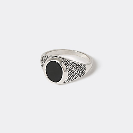 Silver colour black stone engraved ring