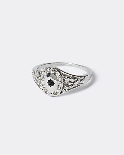 Silver colour black stone pinky ring