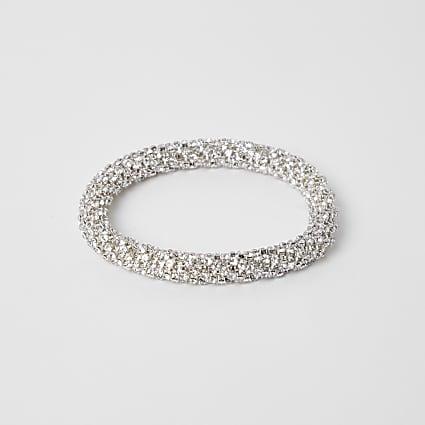 Silver colour bobble rope bracelet