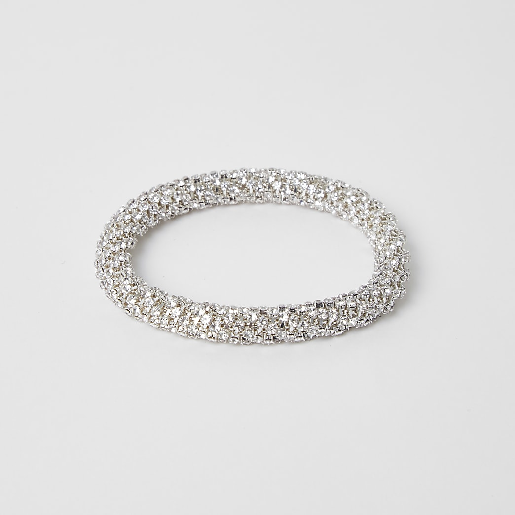 Silver colour bobble rope bracelet