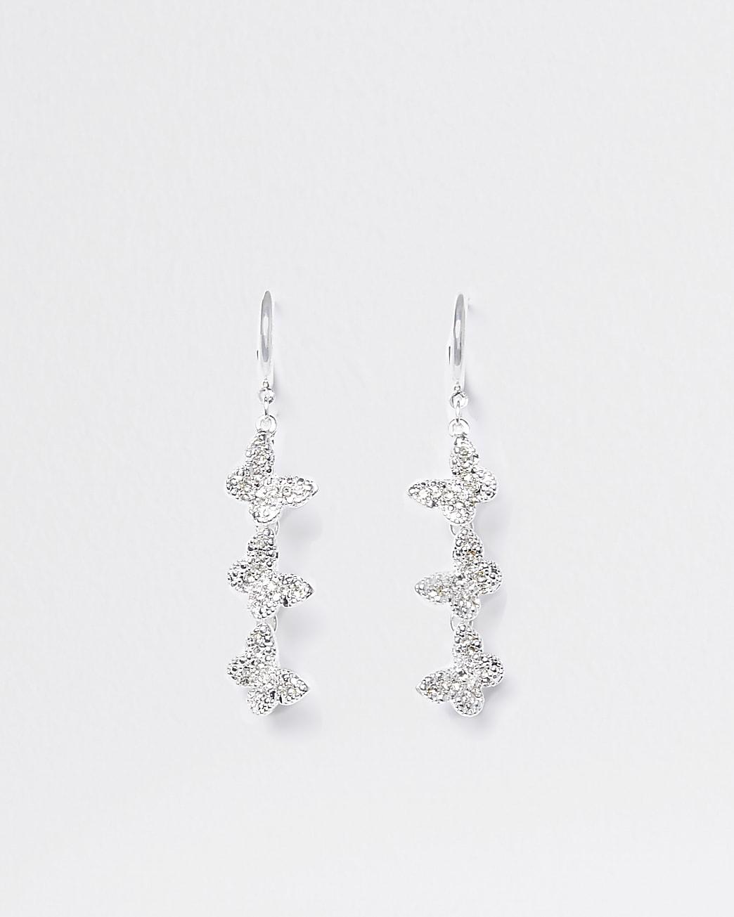 Silver colour butterfly diamante hoop earring