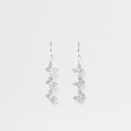 Silver colour butterfly diamante hoop earring