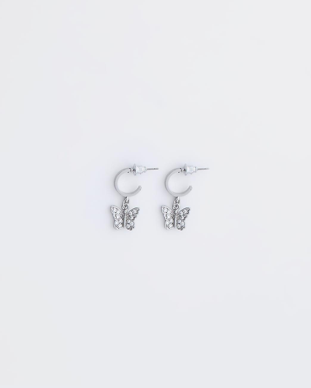 Silver colour butterfly drop hoop earrings