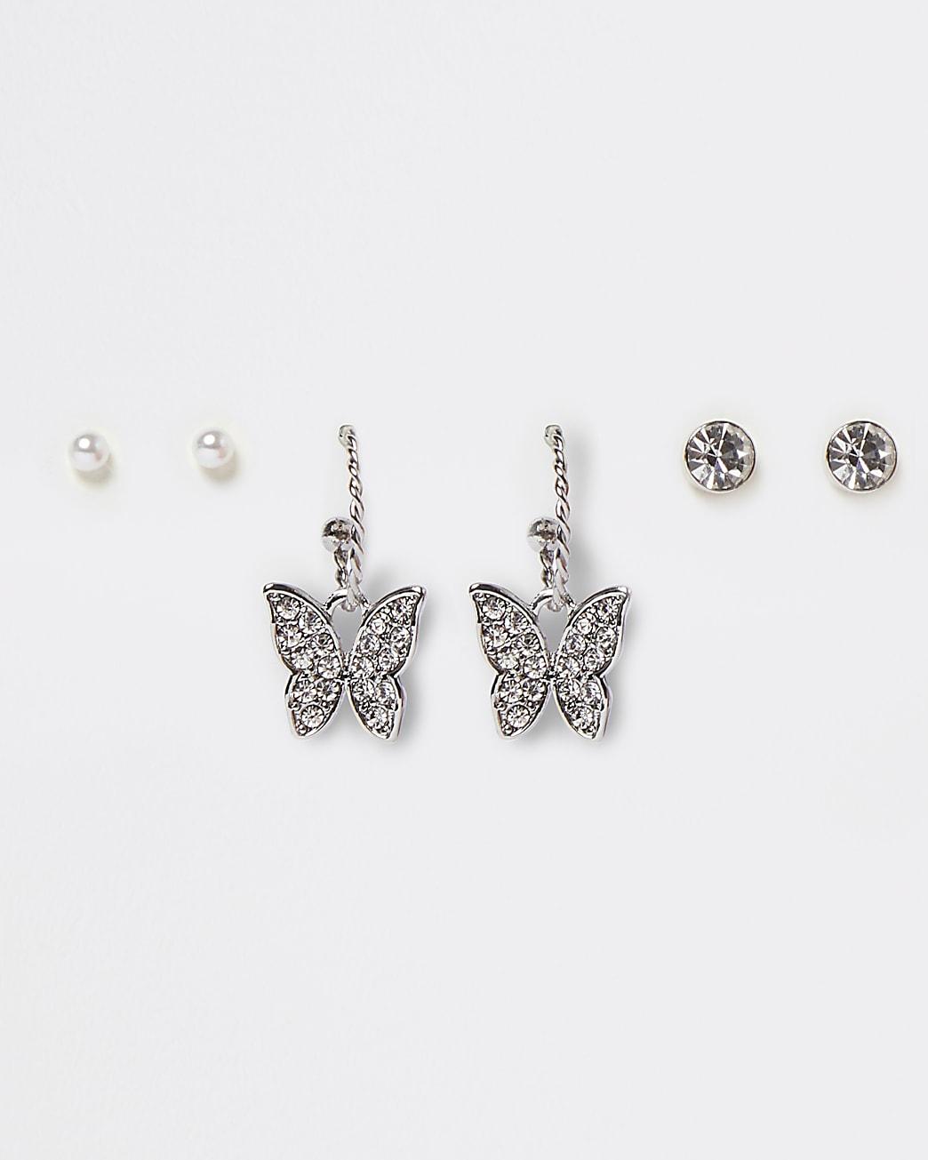 Silver colour butterfly hoop earrings 3 pack