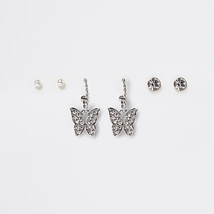 Silver colour butterfly hoop earrings 3 pack
