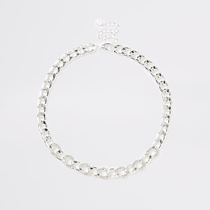Silver colour chain diamante necklace