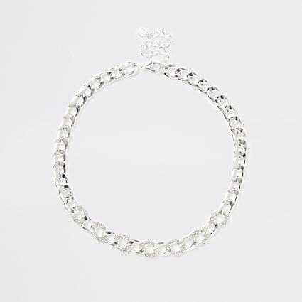 Silver colour chain diamante necklace