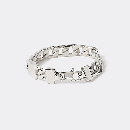 Silver colour chunky chain bracelet