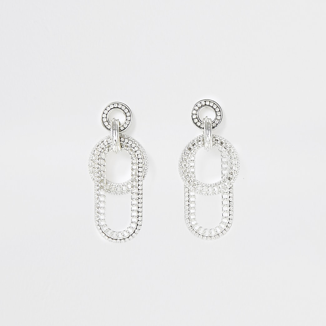 Silver colour chunky chain drop earrings
