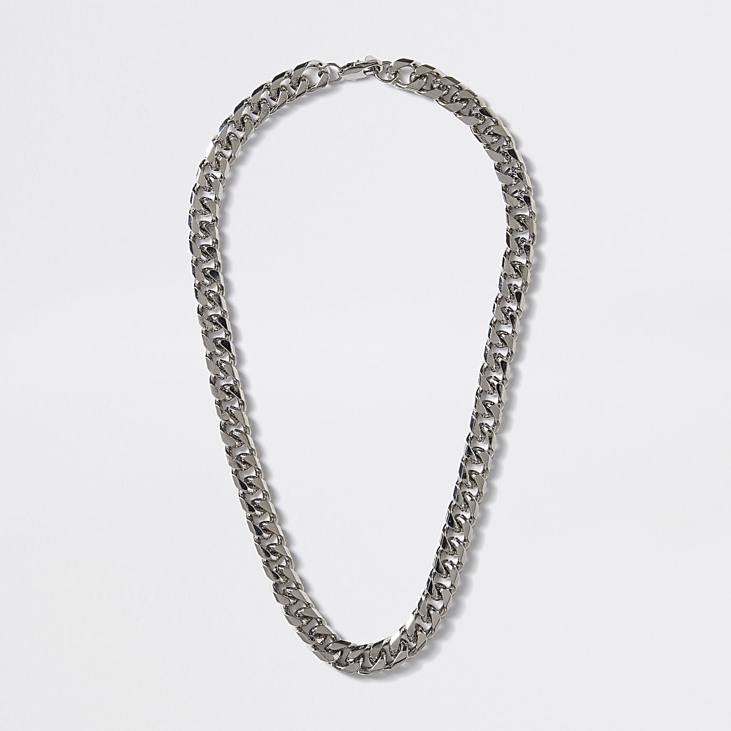 Silver colour chunky chain necklace