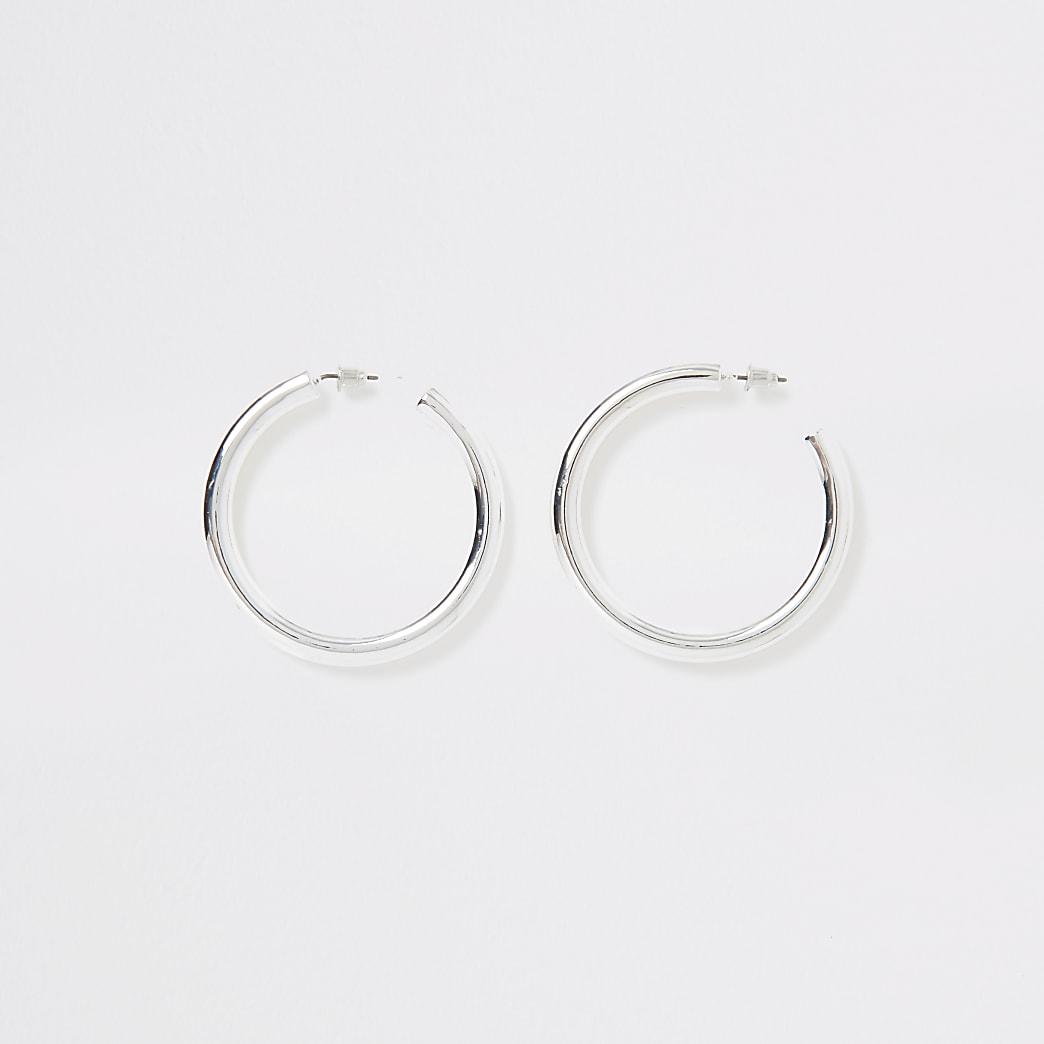 Silver colour chunky cylinder hoop earrings