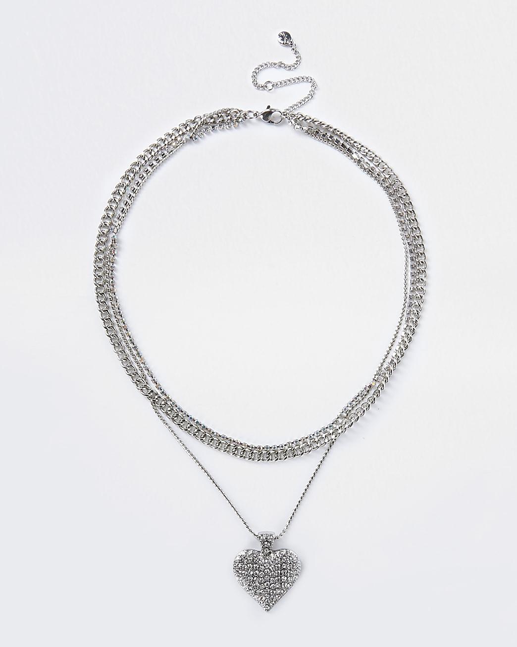 Silver colour chunky Diamante heart necklace