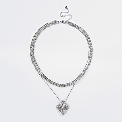 Silver colour chunky Diamante heart necklace