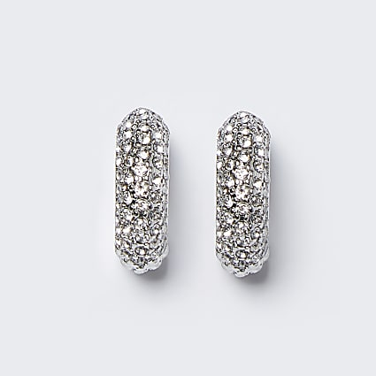 Silver colour chunky diamante hoop earrings
