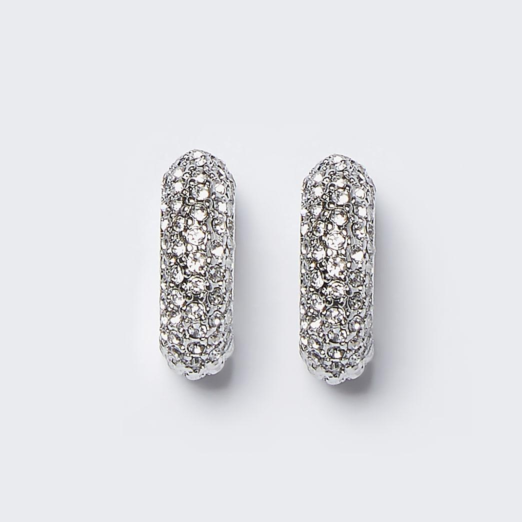 Silver colour chunky diamante hoop earrings
