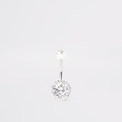 Silver colour circle diamante belly bar