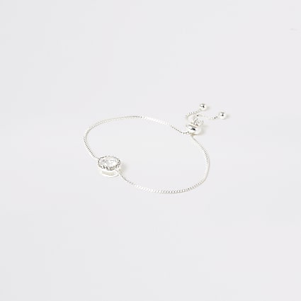 Silver colour circle diamante bracelet