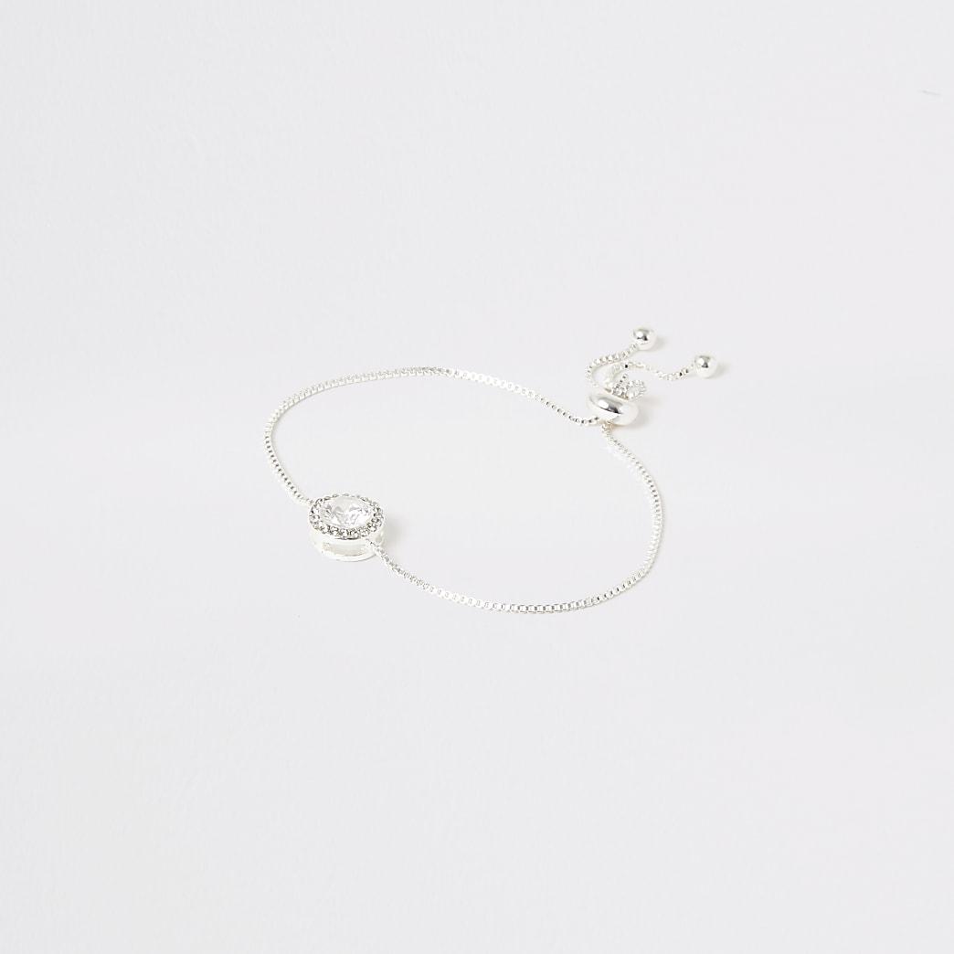 Silver colour circle diamante bracelet