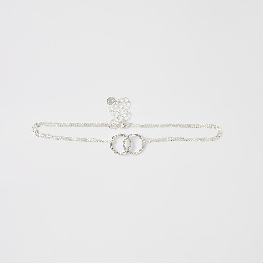 Silver colour circle linked choker necklace